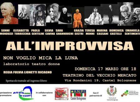 """Spettacolo teatrale """"All'improvvisa"""" su testi di Franca Rame, domenica 17 marzo al Teatrino"""
