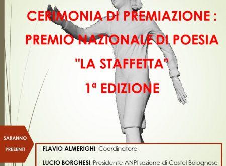 """Sabato 27 aprile Cerimonia di premiazione della 1° edizione del Premio Nazionale di Poesia """"La Staffetta"""""""