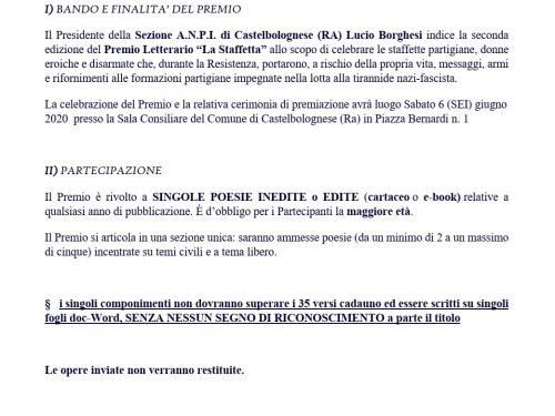 2° PREMIO NAZIONALE DI POESIA 'LA STAFFETTA' per Opere Edite e Inedite. Scadenza bando 18 maggio 2020